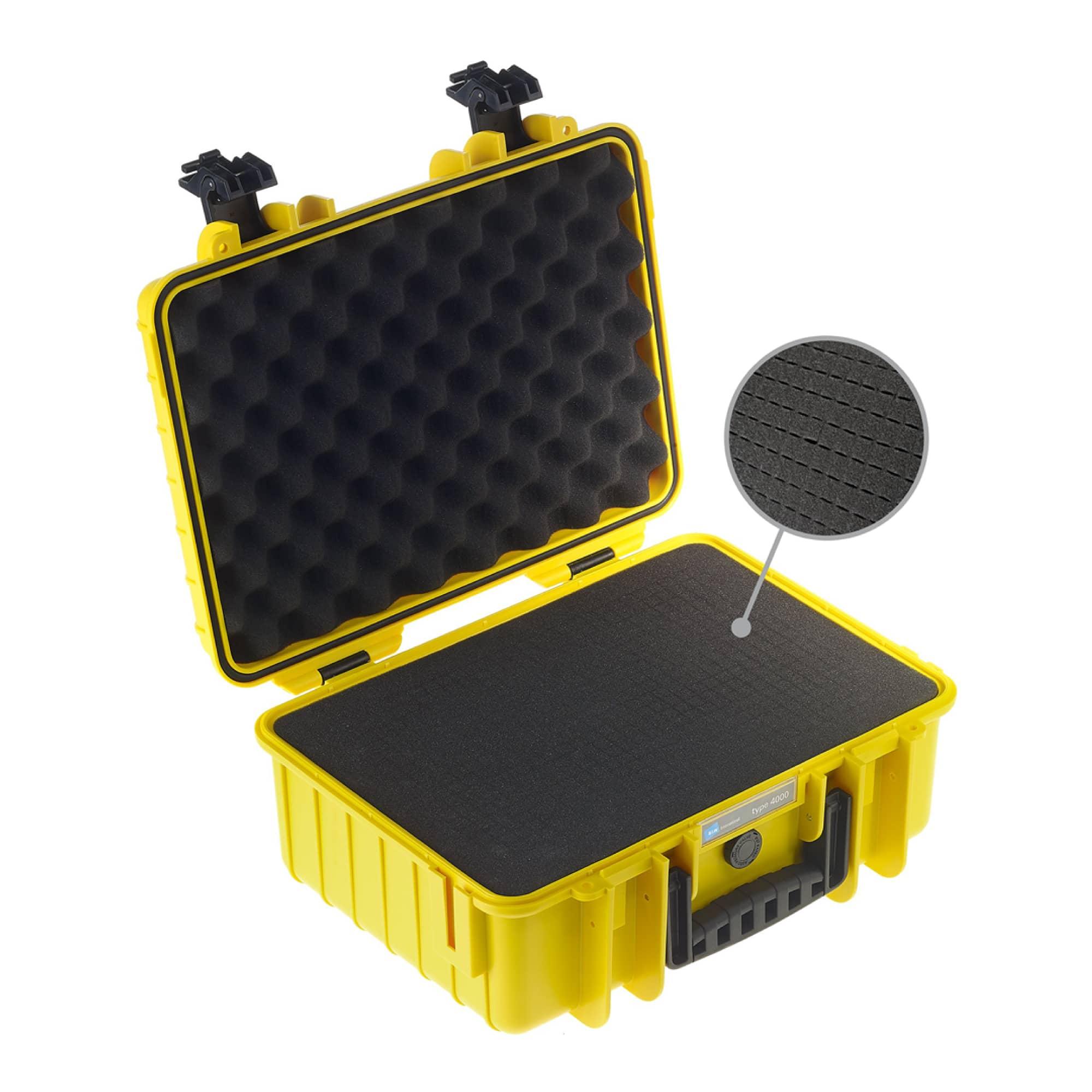B&W Outdoor Case Typ 4000 gelb mit vorgestanztem Würfelschaum (SI)
