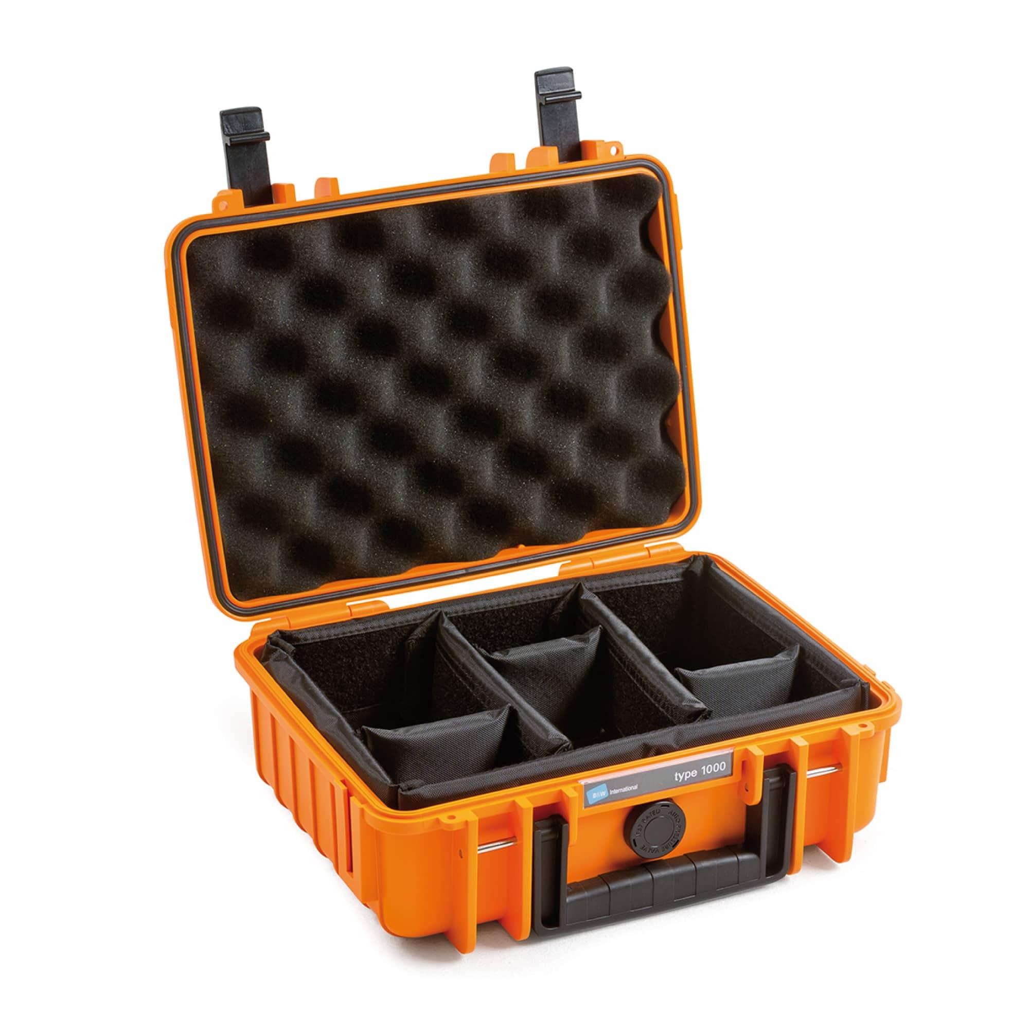 B&W Outdoor Case Typ 1000 orange mit variabler Facheinteilung (RPD)