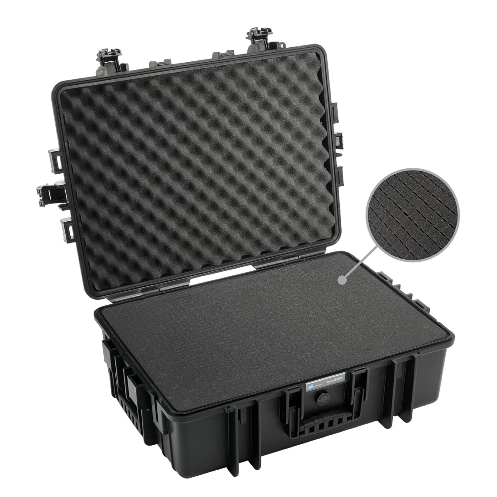 B&W Outdoor Case Typ 6500 schwarz mit Würfelschaum (SI)