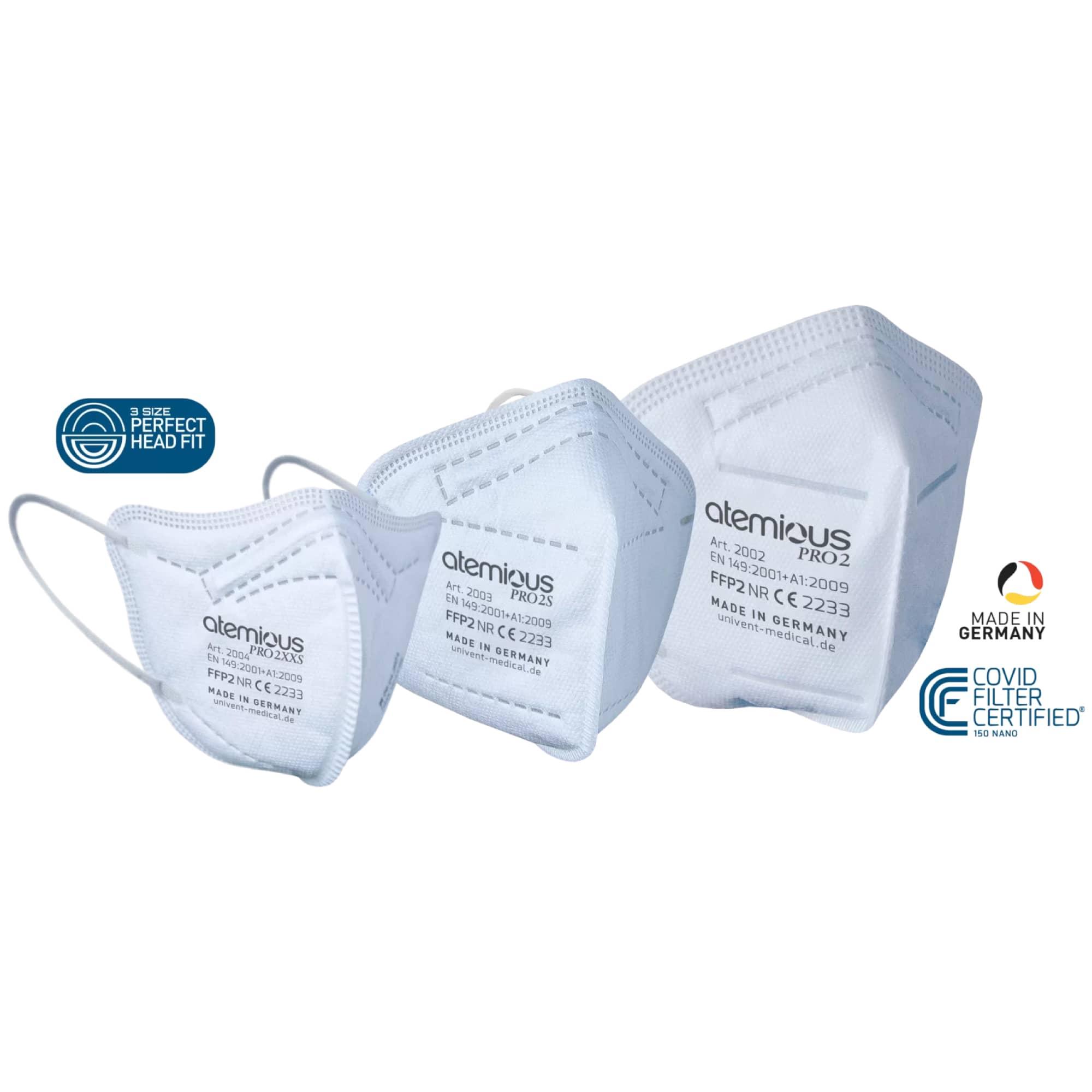 FFP2 premium Atemschutzmasken in drei Größen