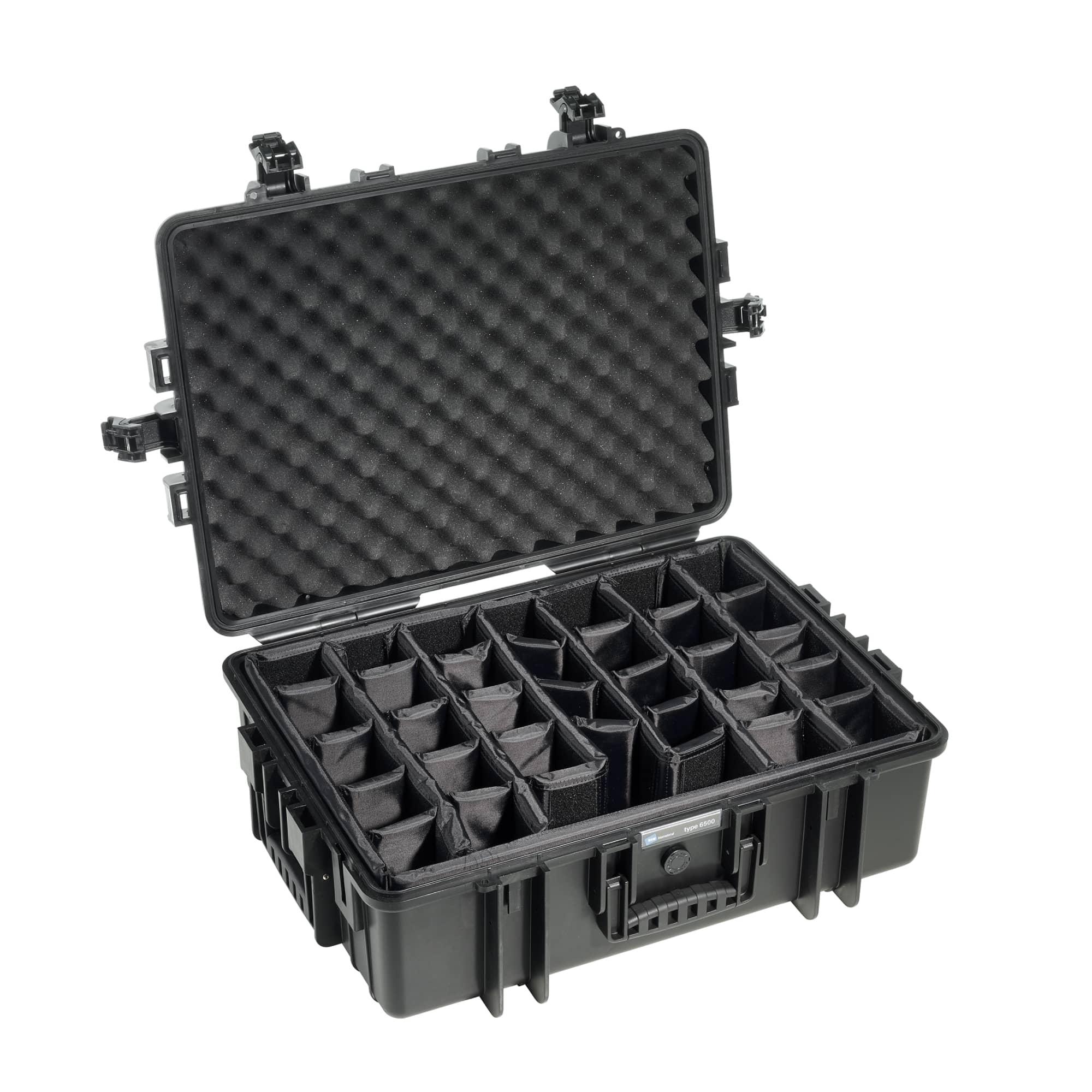 B&W Outdoor Case Typ 6500 schwarz mit variabler Facheinteilung (RPD)