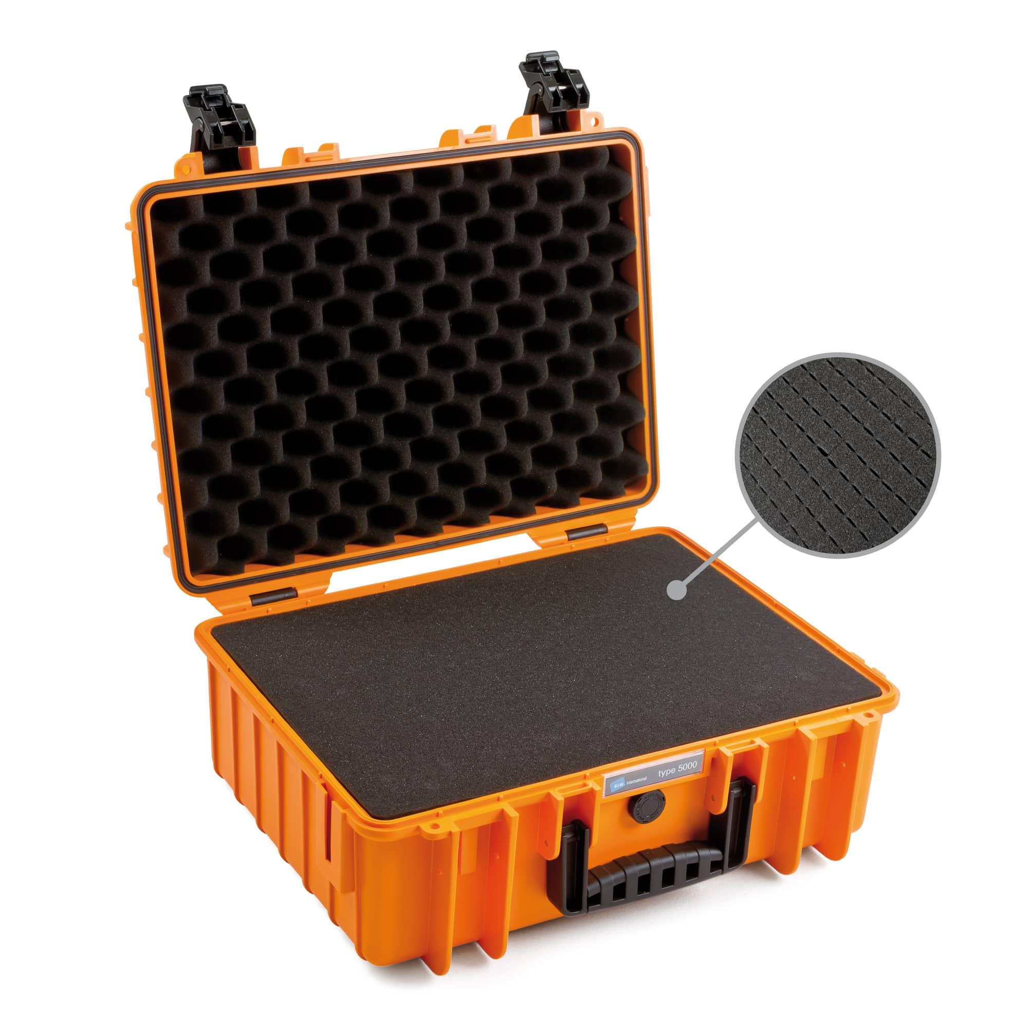 B&W Outdoor Case Typ 5000 orange with pre-cut foam( SI)